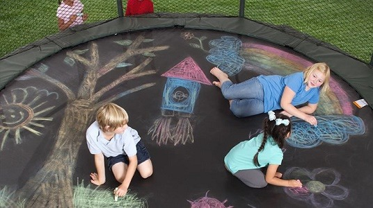 fun things to do on a trampoline - draw on it with chalk