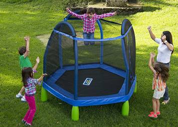 kids playing happily with the trampoline